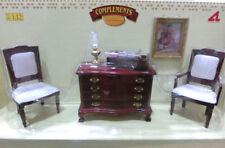 Conjunto aparador + sillas + accesorios casita muñecas  dollhouse escala 1/12