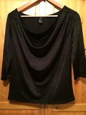 Damen Shirt M schwarz Dreiviertelarm Gothic Baumwolle Wasserfall-Ausschnitt