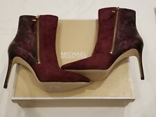 MICHAEL KORS - Plum Suede & Leather Reptile Ankle Boots £260 uk9.5  eu42.5 us11M