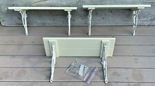 "Pottery Barn Set of 3 Wall Mounted Shelves 24"" Wood w/ White Cast Iron Brackets"