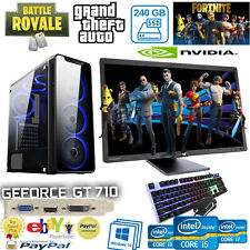"Fast Gaming PC_4Th Gen Computer Tower 16GB RAM_ 256 SSD 2GB-GT710  22"" LCD"