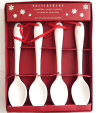 POTTERY BARN HOLIDAY/CHRISTMAS SNOWFLAKE CERAMIC SPOONS - SET OF 4