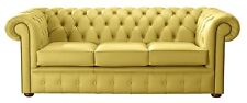 Modern Leather Chesterfield Handmade 3 Seater Sofa Settee Shelly Deluca Yellow