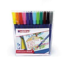 Edding Colourpen Brushpens - Fibre Tip Felt Tip Pens - Assorted Wallet of 12