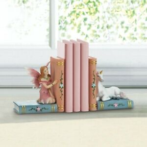 Enchanted Bookends w/ Fairy in Pink Dress & White Unicorn
