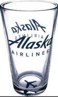 Alaska Airlines Glass, Pint 16 oz Authentic Collectible/Useable Livery Bar Glass