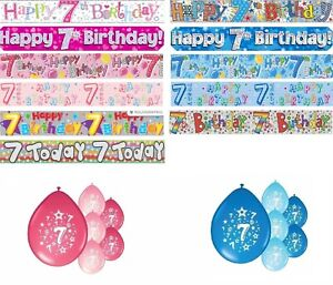 AGE 7 BIRTHDAY BANNERS PARTY DECORATIONS PINK BLUE MULTI DECORATIONS