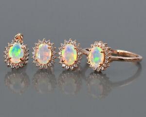 Oval Cut Natural Ethiopian Opal Gemstone 14K Solid Rose Gold Women Jewelry Set
