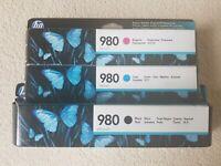 Genuine HP 980 Black + Magenta + Cyan Inks ENTERPRISE X555 MFP X585