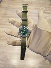 Mens Submariner Homage Watch Green Hulk Automatic STERILE DIAL👌green white nato