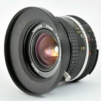 NIKON Ai Nikkor 20mm f/3.5 Wide Angle Manual Prime Lens w/ Hood from Japan Exc