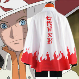 Naruto Uzumaki Shippuden Cosplay Costume 7th Leaf Hokage Robe Cape Cloak Size XL