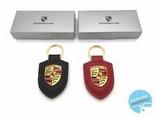 PORSCHE cresta portachiavi portachiavi Nero & Rosso Set di 2