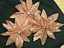 Large Christmas Candy Cane Handmade Ribbon Flowers- Set of Three