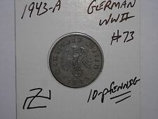 GERMAN COIN LOT #73 1943-A THIRD REICH NAZI 10 REICHSPFENNIG GERMANY WW2 COIN