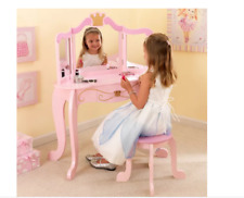 Childrens Pink Wooden Princess Vanity  Tri-fold Mirror & Stool Set Gift for Girl