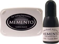 New Tsukineko Memento Tuxedo Black Dye Ink Stamp Pad + Re-Inker Bundle Set