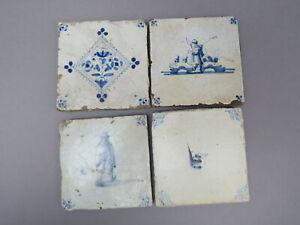 Delfter Fliesen 4 Kacheln Holland Antik Sammler Set 2