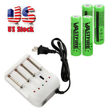 4X 18650 3.7V 2400mAh Li-ion Rechargeable Battery + 4.2V Charger Plug US
