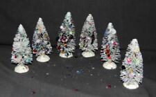 "Lot Of 6 White 4"" Bottle Brush Christmas Trees w/Multi-Color Sequins - New"
