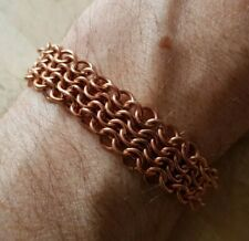 Solid Copper Chainmail Bracelet Hand-made European 4 in 1 Statement Custom Fit
