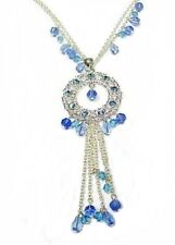 Silver Blue Glass Bead Crystal Necklace Pendant Chain Women Dress Vintage Gift