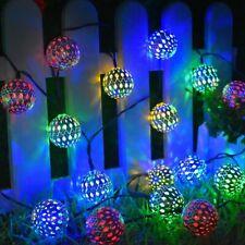 20 LED Moroccan Ball Solar String Lights Fairy Globe Waterproof Decorative Lamps