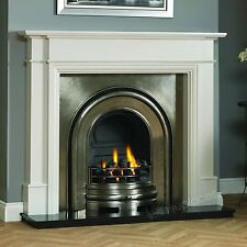 """TRADITIONAL GAS WHITE SURROUND BLACK GRANITE CAST IRON FIRE FIREPLACE SUITE 56"""""""