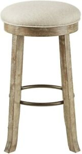 Backless Bar Stool with Swivel Seat Light Gray New