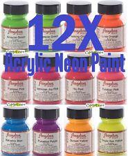 12 1oz Set Neon Starter Kit Angelus Acrylic Paint Dye Leather Vinyl Sneaker Boot