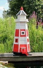 Leuchtturm, Leuchttürme Garten aus Holz mit Beleuchtung 1,10m rot/weiß