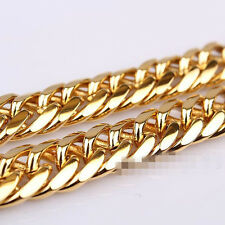 24K Gold Plated 10mm Filled Mens Necklace Solid Cuban Curb Link Chain Jewelry