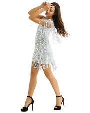 Women's V Neck Sequin Tassels Lyrical Dress Samba Latin Ballet Dance Ballroom