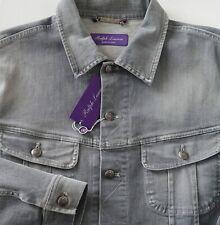 $795 RALPH LAUREN PURPLE LABEL Gray Stretch-DENIM TRUCKER Jacket L