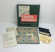 Vintage Portable Travel Scrabble Family Board Game 3 Racks 100 Tiles Bag Rules