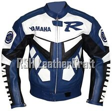 Yamaha Biker Motorcycle Rider Cowhide Leather Rider Jacket w Armour (All Sizes)