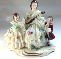 Antique German Muller Volkstedt Dresden Lace Porcelain The Players Figurine