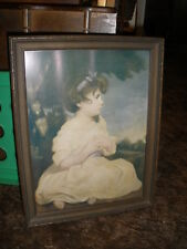Vintage Print Young Victorian girl sitting in Forest C19th Century Picture