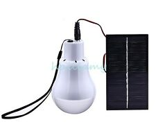 Portable LED Bulb Solar Power Garage Travel Outdoor Camp Tent Fishing Lamp Light
