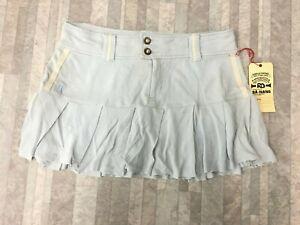 NEW Da-Nang Surplus Women's Skirt Flare Stretch Front Zipper BLUE PSG247 MEDIUM
