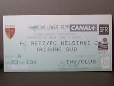 TICKET : FC METZ - FC HELSINKI 26-08-1998 CHAMPIONS LEAGUE