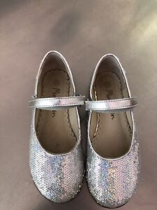 mini boden shoes Size 31 Party Mary Janes Silver Sequin EUC US 13