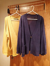GUDRUN SJODEN BUNDLE OF 2 LINEN CARDIGANS YELLOW AND PURPLE SIZE S