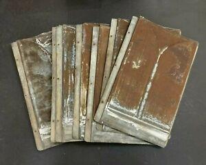 Old Vintage Reclaimed Metal Tin Roof Shingles Set of 10 O