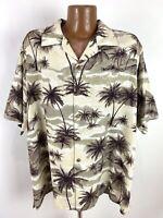 Palm Tree Print Hawaiian Camp Shirt Men's XL Beige Loop Collar Silk Rayon NWOT