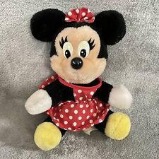 "Walt Disney World 8"" Minnie Mouse Sitting Plush Stuffed Animal Red White Dress"