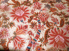 Vintage French Tree of Life Indienne Floral Cotton Fabric ~ Rose Blue Terracotta