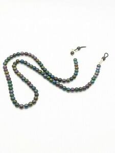 Black Peacock Glass Bead Eye Glasses Chain