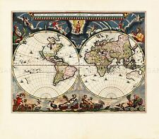 MAP ANTIQUE BLAEU WORLD ATLAS GLOBE HISTORIC LARGE REPLICA POSTER PRINT PAM0693