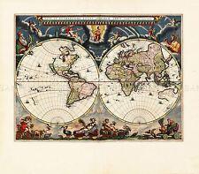 Mappa antico Blaeu atlante mondo mappamondo storico grande Replica poster stampa pam0693